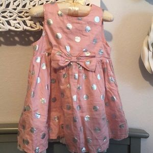 77a36f26f Pink & silver polka dots and mid bow dress.